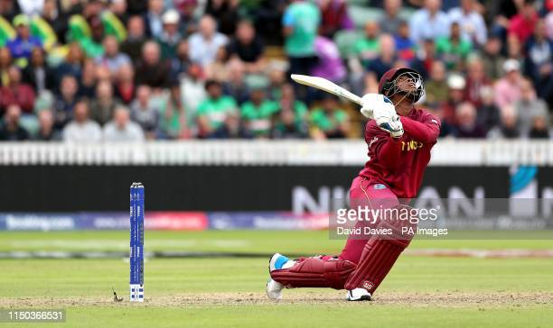 West Indies' Shimron Hetmyer is caught out during the ICC Cricket World Cup group stage match at The Taunton County Ground Taunton