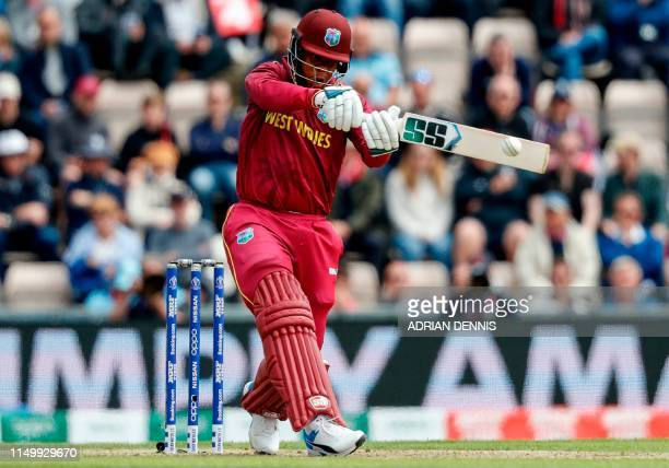 West Indies' Shimron Hetmyer plays a shot during the 2019 Cricket World Cup group stage match between England and West Indies at the Rose Bowl in...