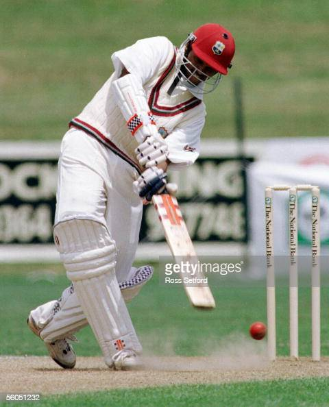 West Indies Shivnarine Chanderpaul digs a ball out against