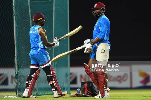 West Indies' team captain Kieron Pollard practices at the nets during a training session at the Pallekele International Cricket Stadium in Kandy on...