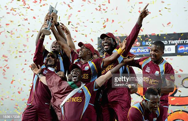 West Indies team with the trophy after winning the ICC World Twenty20 2012 Final between Sri Lanka and the West Indies at R Premadasa Stadium on...