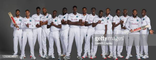 West Indies test squad pose for a portrait, Shai Hope, Shane Dowrich, Alzarri Joseph, Roston Chase, Kemar Roach, Rahkeem Cornwall, Jason Holder,...