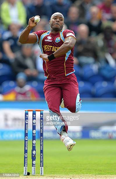 West Indies Tino Best delivers a ball during the 2013 ICC Champions Trophy One Day International cricket match between West Indies and South Africa...