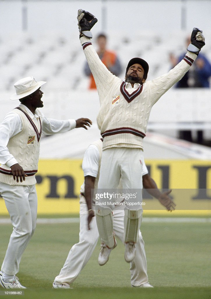 West Indies wicketkeeper Jeffrey Dujon celebrates after catching England batsman Mark Ramprakash who was out for 27 on the first day of the 1st Test Match between England and the West Indies at Headingley in Leeds, 6th June 1991. England won by 115 runs.