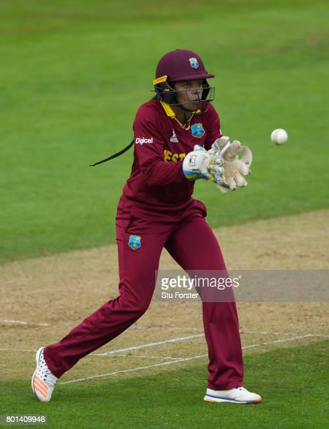 West Indies wicketkeeper Merissa Aguilleira in action during the ICC Women's World Cup 2017 match between Australia and West Indies at The Cooper...