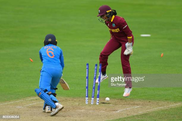 West Indies wicketkeeper Merissa Aguilleira reacts as India batsman Deepti Sharma is bowled during the ICC Women's World Cup 2017 match between West...