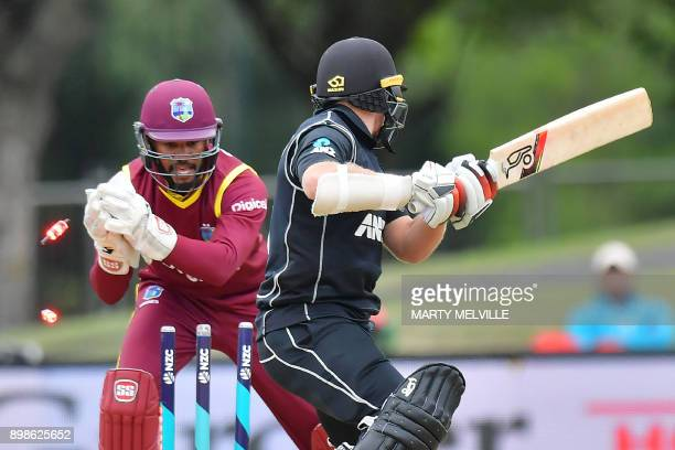West Indies wicketkeeper Shai Hope stumps New Zealand's Tom Latham during the third oneday international cricket match between New Zealand and the...