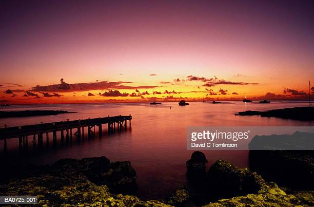 West Indies,Grand Cayman,George Town,view from harbour at sunset