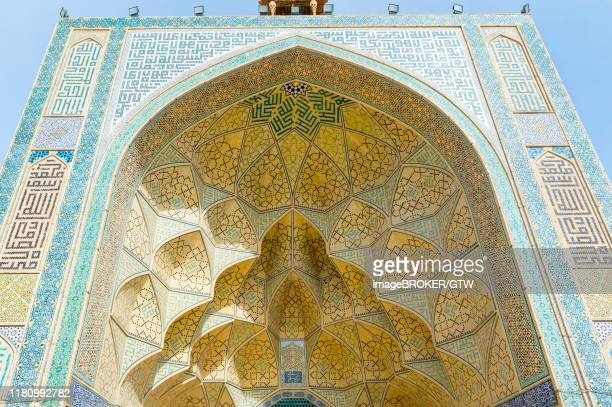 west iwan facade, masjed-e djame or jameh mosque, esfahan, iran - 金曜モスク ストックフォトと画像