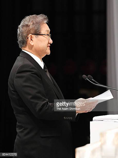 West Japan Railway Co President Seiji Manabe addresses during the memorial ceremony on the eleventh anniversary of the train derailment accident on...