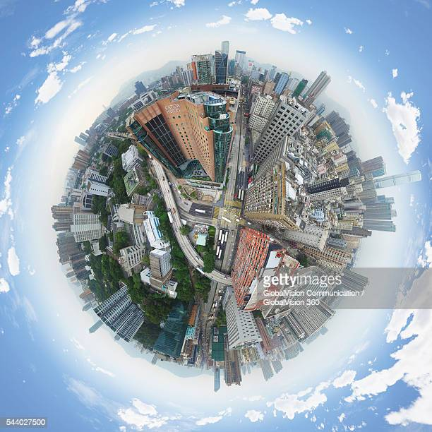 west kowloon corridor, hong kong - little planet format stock photos and pictures