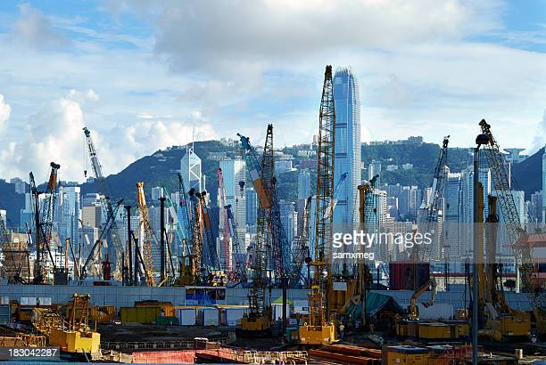 west kowloon under construction in hong kong - kowloon peninsula stock pictures, royalty-free photos & images