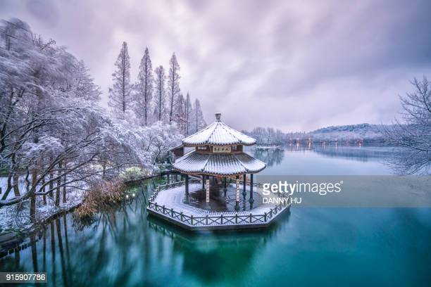 west lake in winter, hangzhou city,china