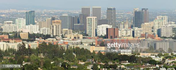 west los angeles skyline panorama - westwood neighborhood los angeles stock pictures, royalty-free photos & images
