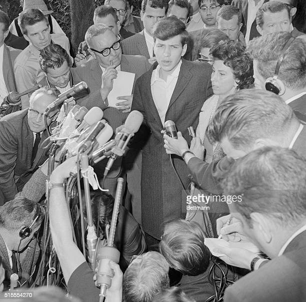 Frank Sinatra Jr with his mother Nancy on his left meets the press in front of his mother's home after being released here earlier by kidnappers who...