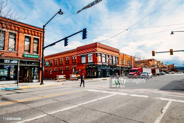 west main street, bozeman, montana, usa - bozeman stock pictures, royalty-free photos & images