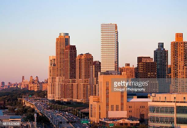 west manhattan new york city twilight - joe dimaggio highway stock photos and pictures