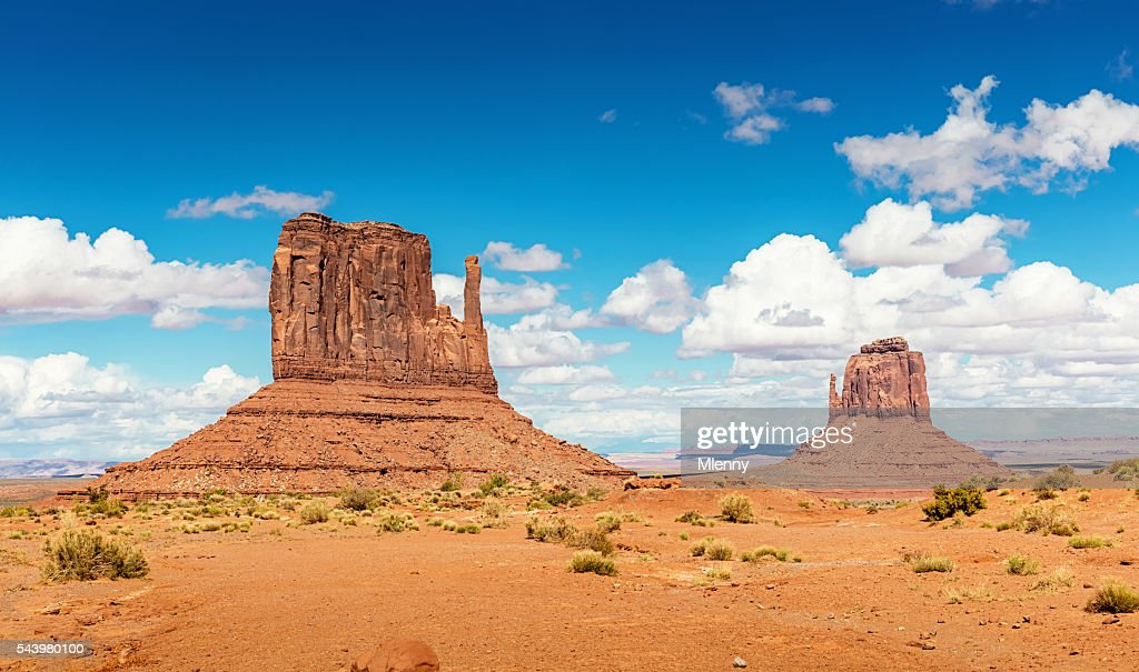 West Mitten and Merrick Butte Monument Valley Arizona : Stock Photo