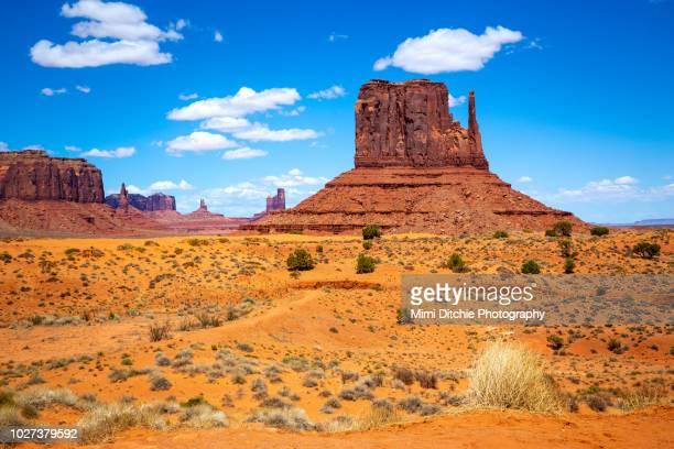 west mitten butte in monument valley - natural landmark stock pictures, royalty-free photos & images
