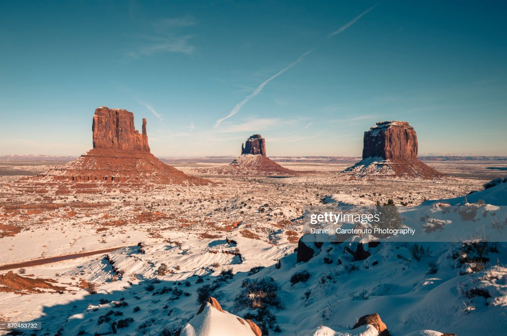 West Mitten, East Mitten and Merrick Butte : Stock Photo