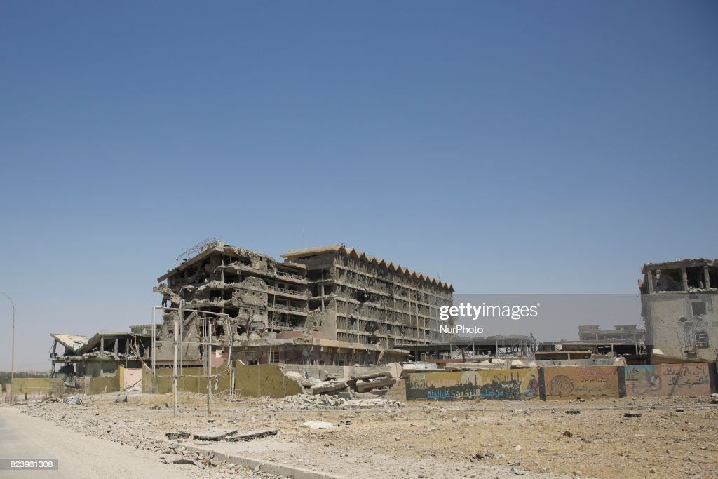 West Mosul lies in ruins as the fighting for Mosul is drawing to an end. Here the Republic Hospital that was fought over for months. West Mosul 27 July 2017
