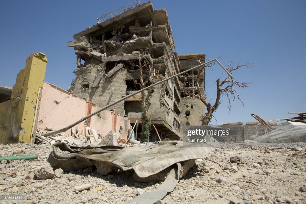 West Mosul lies in ruins as the fighting for Mosul is drawing to an end. A bloody body armour lies at the gate of the Republic Hospital that was fought over for months. West Mosul 27 July 2017