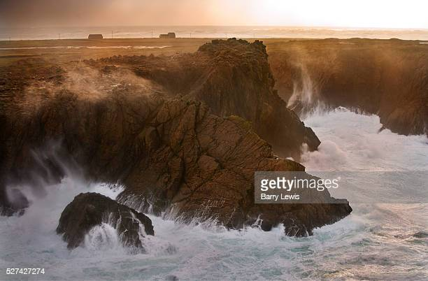 West of the island receiving the full force of the Atlantic with 11 meter waves hitting the 100ft cliffs behind West Town Tory Island nine miles off...