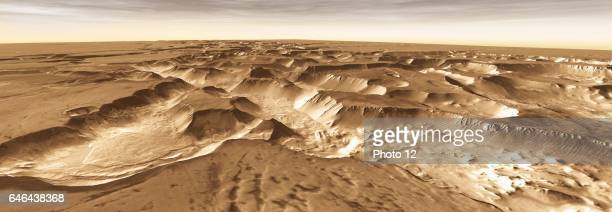 West of Valles Marineris lies a checkerboard named Noctis Labyrinthus which formed when the Martian crust stretched and fractured As faults opened...
