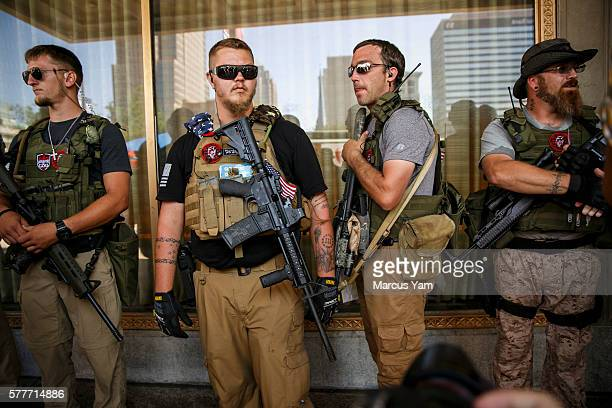 CLEVELAND OHIO TUESDAY JULY 19 2016 West Ohio Minutemen an armed militia stand guard near Public Square during the second day of the 2016 Republican...