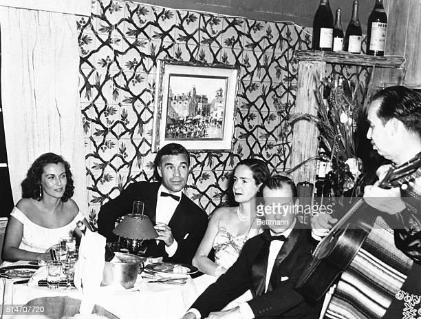2/2/1954 West Palm Beach FL Night out for Rubirosa Porfirio Rubirosa Dominican diplomat recently wed to heiress Barbra Hutton appears with a group of...