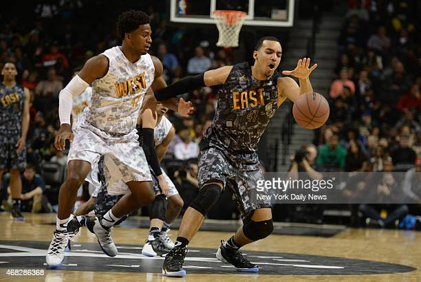 West player Justise Winslow defends East player Trey Lyles Injured Isaiah Whitehead of Lincoln HS during game action of the 2014 Jordan Brand Classic...