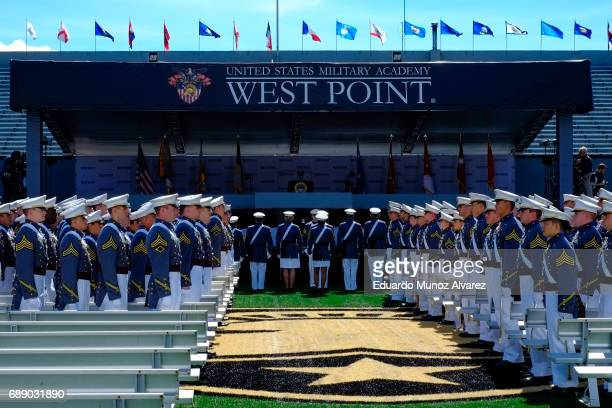 West Point graduates arrive for the US Military Academy Class of 2017 graduation ceremony at Michie Stadium on May 27 2017 in West Point New York US...