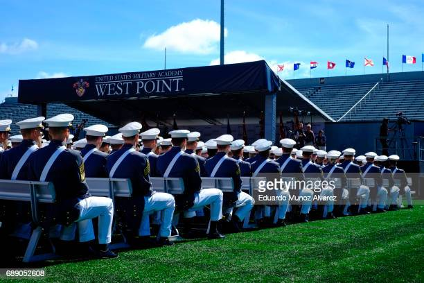West Point graduates attend the US Military Academy Class of 2017 graduation ceremony at Michie Stadium on May 27 2017 in West Point New York US...