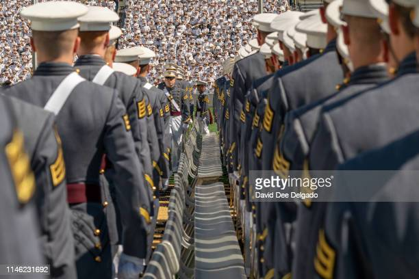 West Point graduates attend the U.S. Military Academy Class of 2019 graduation ceremony at Michie Stadium on May 25, 2019 in West Point, New...