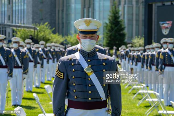 West Point graduates attend the U.S. Military Academy Class of 2020 graduation ceremony while socially distancing on June 13, 2020 in West Point, New...