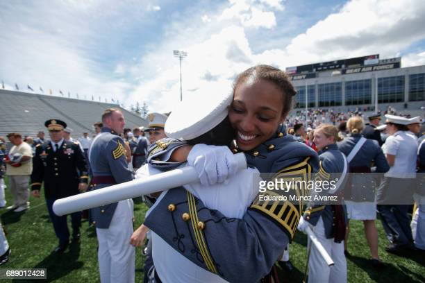 West Point graduates celebrate at the conclusion of the U.S. Military Academy Class of 2017 graduation ceremony at Michie Stadium on May 27, 2017 in...