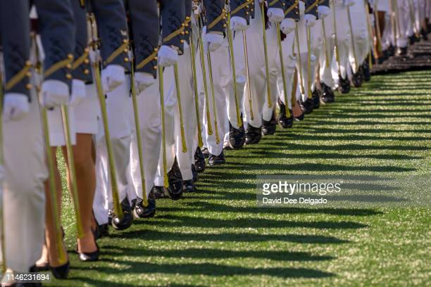 West Point graduates march during the U.S. Military Academy Class of 2019 graduation ceremony at Michie Stadium on May 25, 2019 in West Point, New...