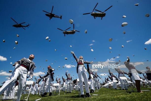 West Point graduating cadets celebrate at the end of their commencement ceremonies at Plain Parade Field at the United States Military Academy on...