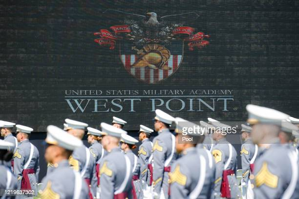 West Point graduating cadets gather for commencement ceremonies at Plain Parade Field at the United States Military Academy on June 13, 2020 in West...