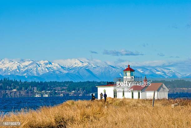 Faro de West Point en Discovery Park en Seattle, Washington