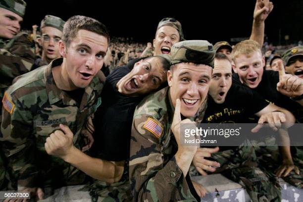 West Point Military Academy Cadets cheer for the Army Black Knights against the Iowa St. Cyclones during their game on September 23, 2005 at Michie...