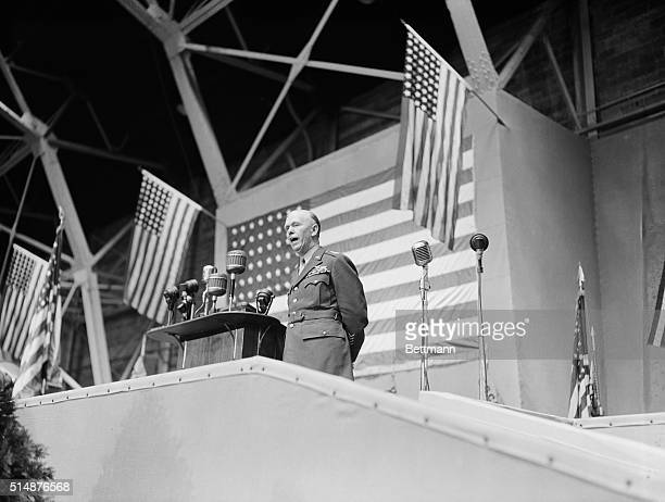 General George C Marshall US Army Chief of Staff is shown as he addressed the graduating class at the US Military Academy today He told the new...