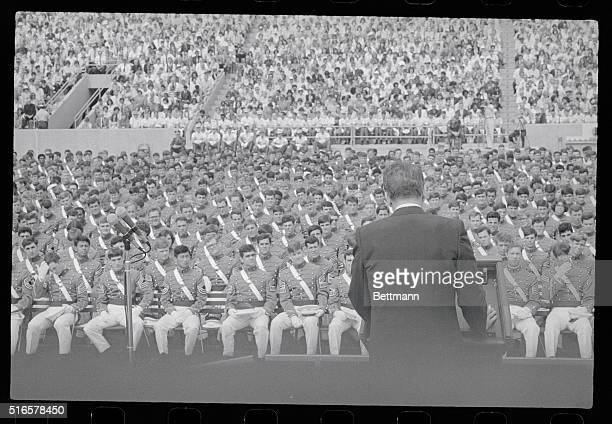 President Ronald Reagan looks over a sea of faces as he addresses the graduating class at the West Point Military Academy