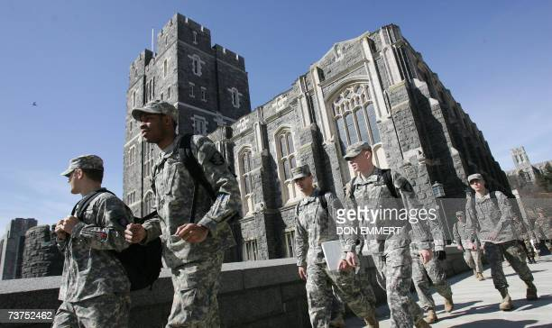 US Army cadets make their way through campus 30 March 2007 at the United States Military Academy in West Point NY AFP PHOTO/DON EMMERT