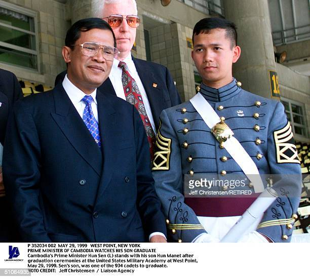 West PointNew York Cambodia's Prime Minister Hun Sen Stands With His Son Hun Manet After Graduation Ceremonies At The United States Military Academy...