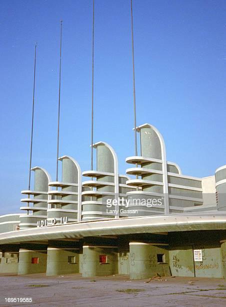 CONTENT] West portico of the longdeparted PanPacific Auditorium Pan Pacific Park Fairfax area Los Angeles CA