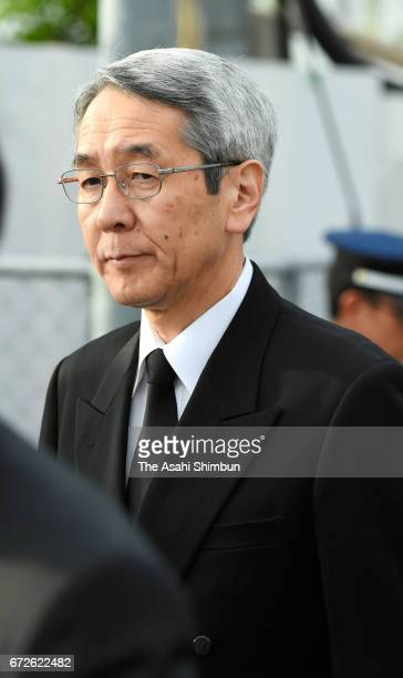 JR West President Tatsuo Kijima visits the accident site on the twelveth anniversary of the train derailment accident on April 25 2017 in Amagasaki...