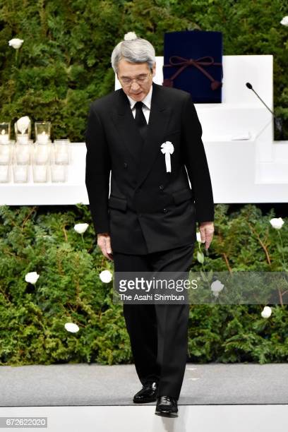 JR West President Tatsuo Kijima walks after addressing during the memorial ceremony on the twelveth anniversary of the train derailment accident on...