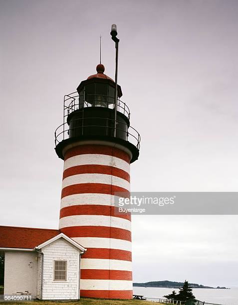 West Quoddy Head Light in Lubec Maine the easternmost point of the contiguous United States and the closest point to Europe from a point in the fifty...
