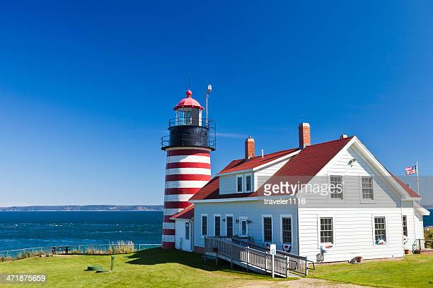 west quoddy head light in maine - west quoddy head lighthouse stock photos and pictures